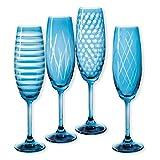 Champagnerflöten geschliffen Farbe Blau 20cl–Lot de 4–quorus–Bruno Evrard