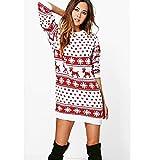 97a0a1300b73f0 SOLELING Natale Abito da Donna con Stampa di Pizzo e Albero di Natale  Maglioni Pullover Manica