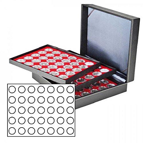 Münzkassette NERA XL mit 3 Tableaus und hellroten Münzeinlagen für 105 Münzen mit Ø 32,5 mm, z.B. für deutsche 20 Euro- bzw. 10 Euro-Silbermünzen