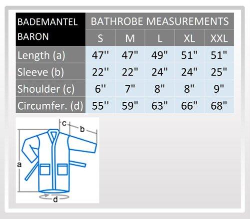 """Bademantel """"Baron"""" für Damen und Herren, 100% Baumwolle, mittellang, mit Schalkragen Weiß"""