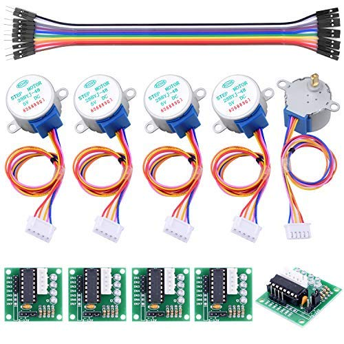Longruner 28byj-48 Stepper Motor Schrittmotor ULN2003 Driver Board with ArduinoIDE Jumper Wire Male to Female Breadboard Cables 5V 5 x Verzahnte LK67-1