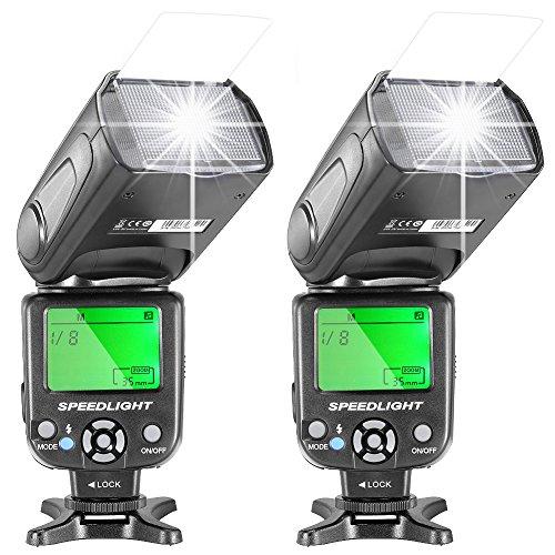 Neewer NW-561 - Speedlite Flash con Display LCD per Canon & Nikon Digitale DSLR fotocamera, 2 pezzi