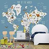 murimage Papier peint Photo Mural-350x250cm Décoration Murale XL-3D Cartoon World Map Filles et garçons chambre 3D pour enfants-Wallpaper Colle Inclus