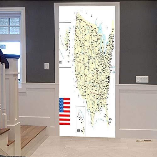 Türaufkleber 3D Vereinigte Staaten Karte Tapete Abnehmbare Wandmalerei Art DecalsDiy Dekoration Für Wohnzimmer Schlafzimmer Büro Dekor Tapete Kinderzimmer Geschenk 77X200 Cm