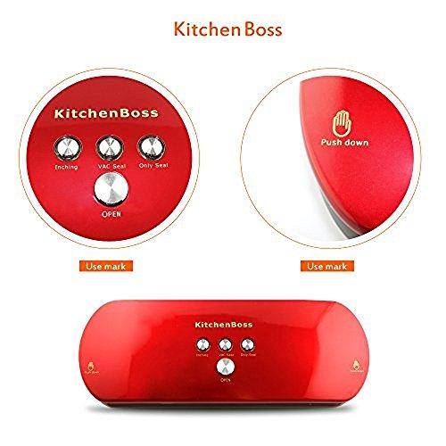 Vakuumierer, KitchenBoss Vakuumiergerät Lebensmittelverpackungsmaschine für Lebensmittel, Fleisch,Früchte, natürliche Aufbewahrung ohne Konservierungsstoffe,Vakuumregulierung,inkl. 5 gratis Profi-Folienbeutel (rote) - 9