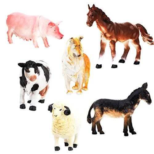 Baoblaze 6 x Kunststoff Nutztiere Tiermodell Aktion Figure Kinder pädagogisches Spielzeug (Schwein Hund Kuh Schaf Pferd Esel) -