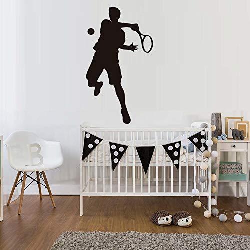 mmzki Kinder Schlafzimmer Kopfteil Tennis Sport Player Wandaufkleber PVC Schwarz Home Decor Tennis Spiel Kunst Silhouette Decals Zubehör 34 cm X 59c