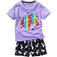 Cozy n Dozy Girls Unicorn Foil Print Shortie Pyjamas