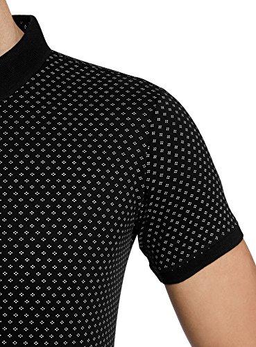 oodji Ultra Herren Gerades Bedrucktes Poloshirt Schwarz (2910G)