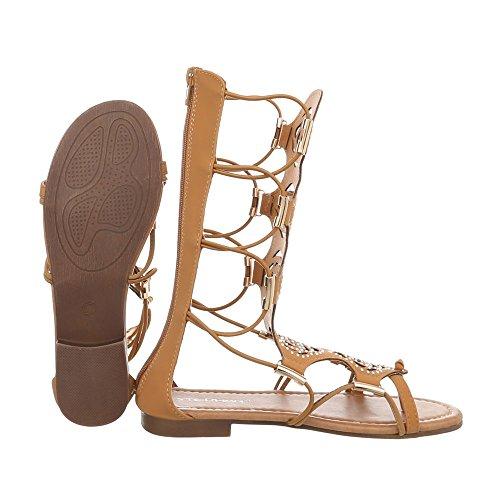 Ital-Design Zehentrenner Damenschuhe Zehentrenner Blockabsatz Zehentrenner Reißverschluss Sandalen & Sandaletten Camel JC-170