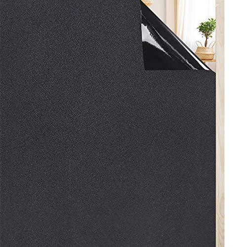 Rabbitgoo Fensterfolie Blickdicht Sichtschutzfolie selbstklebend Verdunkelungsfolie Fenster Klebefolie statische Folie dunkel für Schlafzimmer Badezimmer Anti-UV Schwarz 90 x 200 CM - Fenster-folie Wiederverwendbare