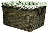 east2eden Brown Wicker Willow Storage Log Hamper Basket with Stag Liner in Choice of Sizes (Small)