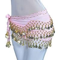 LILICAT☃❋ Cadena de Cintura para Danza Famosa de Tres Niveles Danza del Vientre Bufanda de Cadera Monedas de Oro Traje Falda Correa de Abrigo (Rosa, Verde, púrpura, Azul Cielo, Azul)