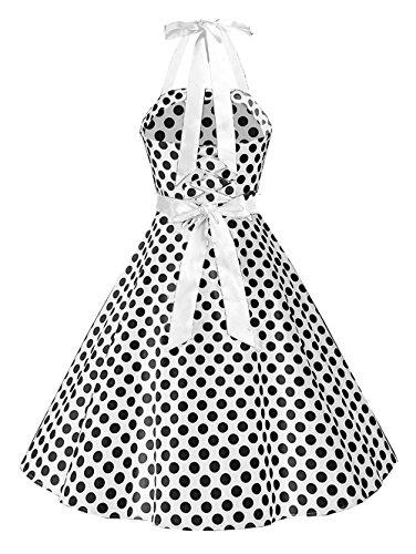 ZAFUL Retro Neckholder ärmellos 1950er Hepburn Kleider Cocktailkleid Rockabilly Swing Kleid Abendkleid Partykleid Vintage Skull Print Dress Weiß 3