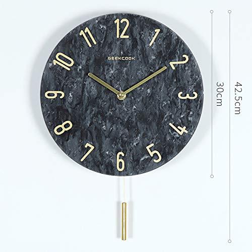 SMAQZ Wanduhr - Moderne minimalistische Marmorwanduhr, Hauptdekoration verziert Schwarzes - Digitale Modelle 35 * 35 * 10CM -