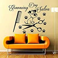 zzlfn3lv Grooming Dog Salon Wall Decals Vinyl Removable Paw Print Comb Shears And Cute Puppy Wall Stickers Living Room 80 * 58cm