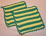 1 Paar gehäkelte Topflappen, grün-gelb