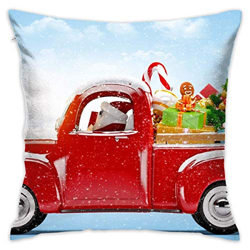 Icndpshorts Santa Claus Has Come to Town Pillowcase - Zippered Pillow Case Cover, Pillow Protector, Throw Pillow Cover - Standard Size 18x18 Inch, Double-Sided Print Pillowcase Covers