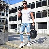 L_shop Männer Loch Freizeit Jeans Elastizität Enge Kleine Füße Hosen Cargo Hosen Jugendliche Gerade Jeans Lässig Zerrissene Loch Jeans, Wie es Beschreibung (S), Hellblau ist