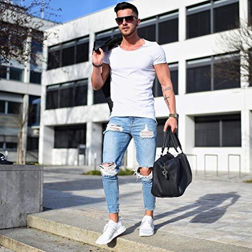 L_shop Männer Loch Freizeit Jeans Elastizität Enge Kleine Füße Hosen Cargo Pants Jugendliche Gerade Jeans Lässige Zerrissene Loch Jeans, Wie es Beschreibung (M), Hellblau ist -