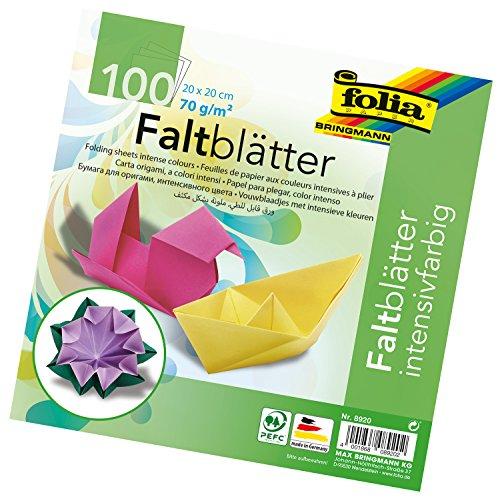 folia 8920 - Faltblätter 20 x 20 cm, 70 g/qm, 100 Blatt sortiert in 10 intensiven Farben - ideal zum Papierfalten und für andere kreative Bastelarbeiten -