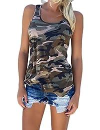 Adelina Chalecos Mujer Sin Mangas Cuello Redondo Verano Tank Top Camouflage Militar Camisolas Boyfriend Blusas Moda