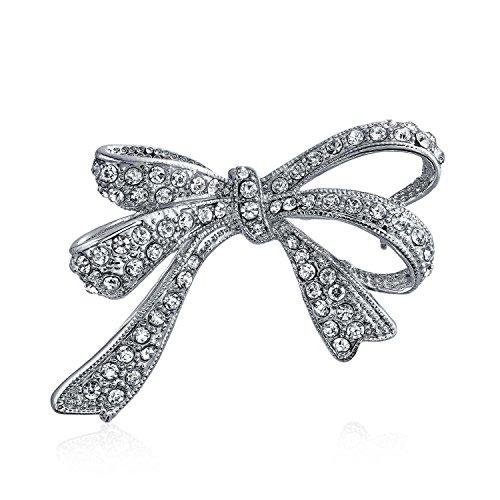 Bling Jewelry Braut Schleife Form Pave CZ Zirkonia Hochzeit Broschen & Anstecknadeln Für Damen Silber Ton Messing Rhodiniert