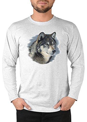 Tier Wolf Motiv Longsleeve Herren : cold stare -- Herren Langarmshirt Grau