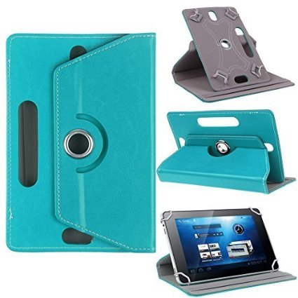 "Hello Zone Exclusive 360° Rotating 8"" Inch Flip Case Cover Book Cover for Micromax Canvas Tab P666 -Sky Blue"