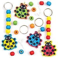 Baker Ross Porte-clés Coccinelle en Bois Que Les Enfants pourront décorer - Kits créatifs pour Cadeaux à réaliser soi-même (Lot de 4)