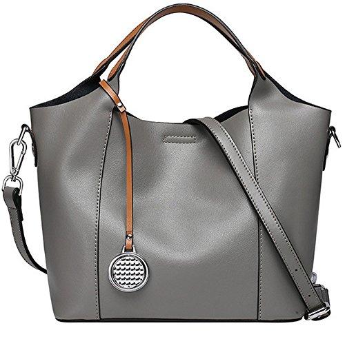 Xinmaoyuan Sacs à main pour Femme Sac à main en cuir Sac en cuir sac de messager d'épaule de dames Gray