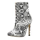 Botas,ZARLLE Moda Botas De Nieve Mujer Botines De Mujer Zapatos De Nieve CáLida Bombas De Modelo De Piel De Serpiente con Punta Estrecha Zip Fino Zapatos De TacóN Alto Botas