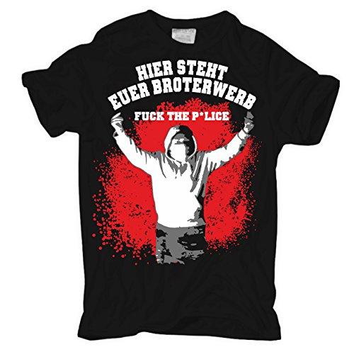 Männer und Herren T-Shirt Hier steht euer Broterwerb (mit rückendruck) Körperbetont schwarz