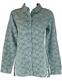 454d9747 Debranded Sage Green Peacock Print Long Sleeve Shirt