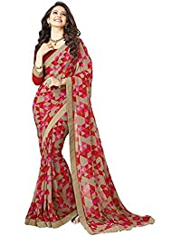 Apnisha Women's Printed Georgette Saree (Free Size_Red)