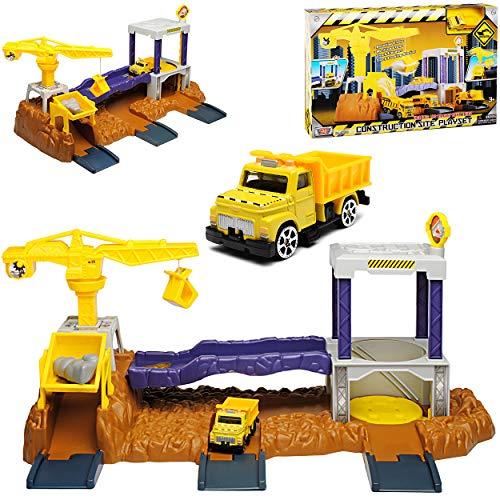 Motormax Baustelle mit Fahrzeug und Zubehör mit vielen Funktionen - Baustelle Matchbox