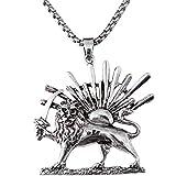 Silber PT Shir khorshid Lion Sun Sword Pahlavi Halskette Kette iranischen Persischen Geschenk, silber, Large