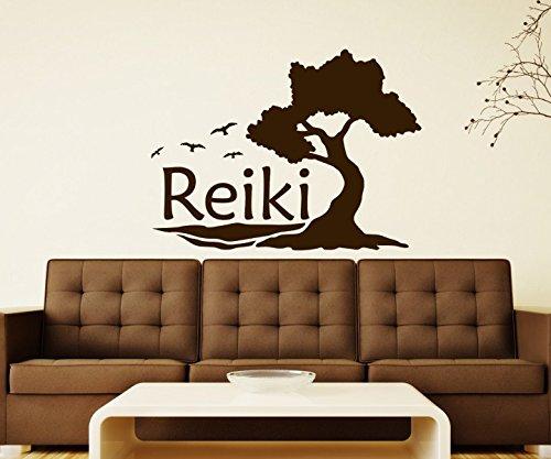 Wandtattoo Reiki Yoga Baum Vögel Übung Körper Auto Om Zeichen Buddha Asien Sprüche Schriftzug Wand Aufkleber 5B308, Farbe:Schwarz Matt;Breite vom Motiv:55cm