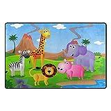 Bennigiry Cartoon-Dschungel-Tier Bereich Teppich Super Soft Polyester Große Rutschfeste Modern Bad-Teppiche für Schlafzimmer Wohnzimmer Hall Abendessen Tisch Home Decor 78,7 x 50,8 cm, 31 x 20 inch