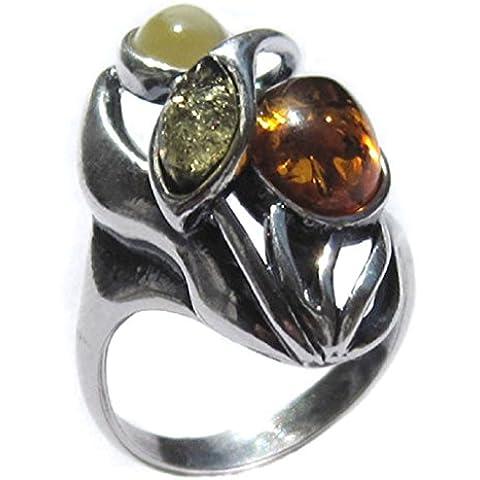 Noda - Anello di design in ambra multicolore e argento (Argento Bat Anello)