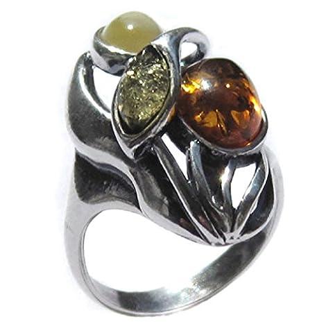 Noda bague en ambre multicolore et argent 925/1000 designer taille 59.5