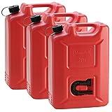 3x Kunststoffkanister Rot mit je 20 Liter Fassungsvermögen