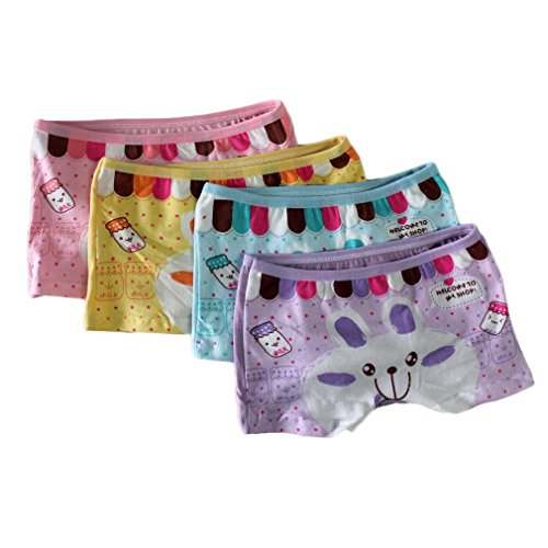 Smail Baby 2t-10t Kids Girls Briefs 4-pack Boyshort Underwear Rabbit