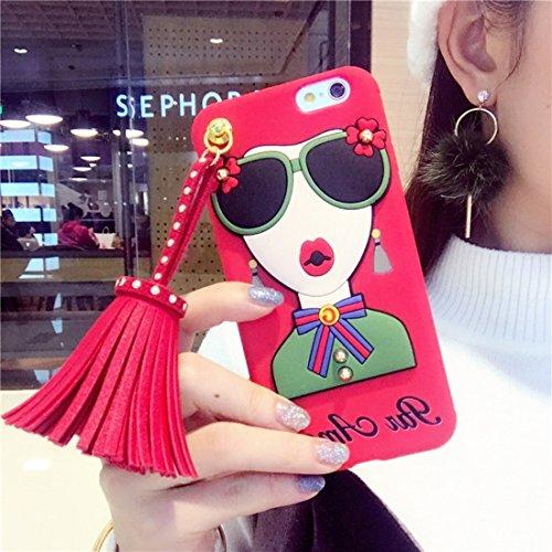 Phone case & Hülle Für iPhone 6 Plus / 6s Plus, Niet Quasten Mode Mädchen Muster weichen TPU Schutzmaßnahmen zurück Fall mit Anhänger ( Color : Black ) Red