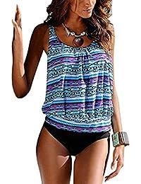 ASSKDAN Tankini Femme 2 Pieces Bohème Imprimé Floral Gilet Cover up Maillot de bain Triangle Beachwear