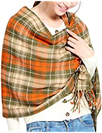 a48f7a78348d Tuopuda Hiver Echarpe Femme Plaid Longue écharpe Chaude Grande Châles Doux  Foulards Glands Elégant Wrap Châles