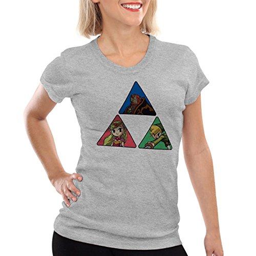 CottonCloud Triforce Link Damen T-Shirt Gamer Hyrule Grau Meliert