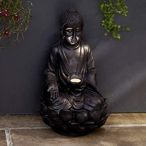 Lights4fun Lampe Solaire de Jardin en Forme de Bouddha