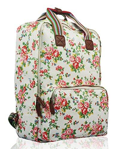 Kukubird Divers Chien Caniche Teckel Papillon Oiseau Chat Toile Imprimé Floral Laptop Backpack Sac À Dos Avec Sac À Poussière Kukubird Floral - White