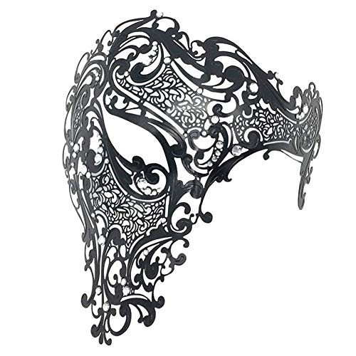 Men Es Mask Halloween Venezianischen Metall Openwork Diamond One-Eye-Maske PROM Half Face Maske Maske Exquisite High-End-Halloween Halb Gesicht Masquerade Party ()
